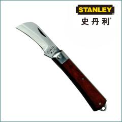 正品批发史丹利弯刃电工刀200mm 锰钢 进口红木手柄